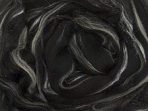 50gr-2m (1.76oz-2.18yards) 95%Wool, 5% Lurex Felt Fiber Content 95% Wool, 5% Lurex, White, Brand Ice Yarns, Black, acs-993