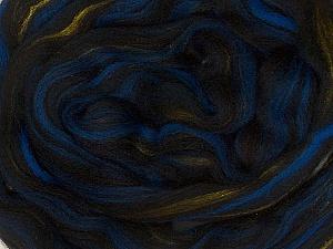 50gr-2m (1.76oz-2.18yards) 95%Wool, 5% Lurex Felt Fiber Content 95% Wool, 5% Lurex, Brand Ice Yarns, Gold, Blue, Black, acs-995
