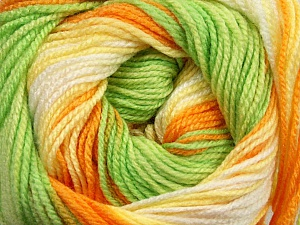 . Fiber Content 100% Baby Acrylic, Yellow, White, Orange, Brand Ice Yarns, Green, Yarn Thickness 2 Fine  Sport, Baby, fnt2-50004