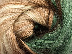 Fiber Content 60% Premium Acrylic, 20% Wool, 20% Mohair, Brand Ice Yarns, Green, Cream, Brown Shades, Yarn Thickness 2 Fine  Sport, Baby, fnt2-50296