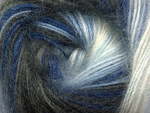 Fiber Content 60% Premium Acrylic, 20% Wool, 20% Mohair, White, Brand Ice Yarns, Grey Shades, Blue Shades, Yarn Thickness 2 Fine  Sport, Baby, fnt2-50299