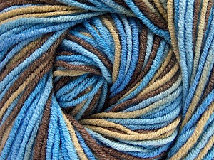 Fiber Content 55% Cotton, 45% Acrylic, Brand Ice Yarns, Brown, Blue Shades, Beige, Yarn Thickness 3 Light  DK, Light, Worsted, fnt2-51444