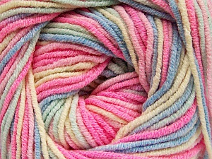 Fiber Content 55% Cotton, 45% Acrylic, Pink, Brand Ice Yarns, Cream, Blue, Yarn Thickness 3 Light  DK, Light, Worsted, fnt2-51447