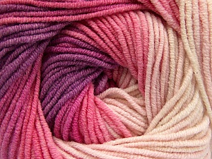 Fiber Content 55% Cotton, 45% Acrylic, Lilac, Light Pink, Brand Ice Yarns, Cream, Yarn Thickness 3 Light  DK, Light, Worsted, fnt2-51449