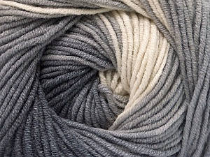 Fiber Content 55% Cotton, 45% Acrylic, White, Brand Ice Yarns, Grey Shades, Yarn Thickness 3 Light  DK, Light, Worsted, fnt2-51538