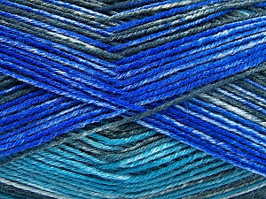 Fiber Content 75% Superwash Wool, 25% Polyamide, Turquoise, Brand Ice Yarns, Grey, Blue, fnt2-51852