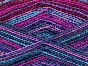 Fiber Content 75% Superwash Wool, 25% Polyamide, Turquoise, Purple, Maroon, Brand Ice Yarns, Fuchsia, Yarn Thickness 1 SuperFine  Sock, Fingering, Baby, fnt2-51908