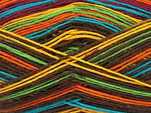 Fiber Content 75% Superwash Wool, 25% Polyamide, Yellow, Turquoise, Orange, Brand Ice Yarns, Green, Dark Brown, Yarn Thickness 1 SuperFine  Sock, Fingering, Baby, fnt2-51911
