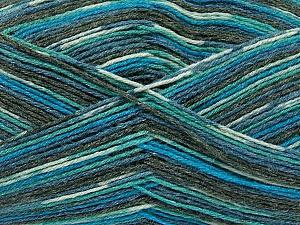 Fiber Content 50% Superwash Merino Wool, 25% Polyamide, 25% Bamboo, Turquoise, Brand Ice Yarns, Grey, Blue, Yarn Thickness 1 SuperFine  Sock, Fingering, Baby, fnt2-52243