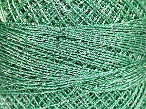 Fiber Content 70% Polyester, 30% Metallic Lurex, Brand YarnArt, Silver, Mint Green, Yarn Thickness 0 Lace  Fingering Crochet Thread, fnt2-52253