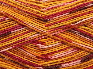 Fiber Content 50% Superwash Merino Wool, 25% Polyamide, 25% Bamboo, Yellow, Pink, Orange, Brand Ice Yarns, Gold, Yarn Thickness 1 SuperFine  Sock, Fingering, Baby, fnt2-52391