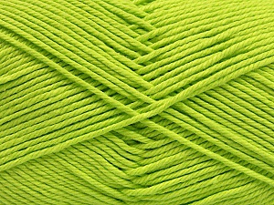 Baby cotton is a 100% premium giza cotton yarn exclusively made as a baby yarn. It is anti-bacterial and machine washable! Fiber Content 100% Giza Cotton, Neon Green, Brand Ice Yarns, Yarn Thickness 3 Light  DK, Light, Worsted, fnt2-53071