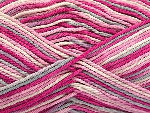 Fiber Content 100% Cotton, White, Pink Shades, Light Grey, Brand Ice Yarns, Yarn Thickness 3 Light  DK, Light, Worsted, fnt2-54353