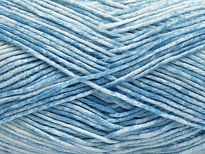 Strong pure cotton yarn in beautiful colours, reminiscent of bleached denim. Machine washable and dryable. Fiber Content 100% Cotton, White, Light Blue, Brand Ice Yarns, Yarn Thickness 3 Light  DK, Light, Worsted, fnt2-54760