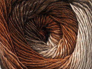 Fiber Content 50% Acrylic, 50% Wool, Brand Ice Yarns, Cream, Brown Shades, Yarn Thickness 2 Fine  Sport, Baby, fnt2-55455