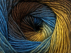 Fiber Content 50% Acrylic, 50% Wool, Brand Ice Yarns, Gold, Brown, Blue, Yarn Thickness 2 Fine  Sport, Baby, fnt2-55457