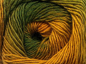 Fiber Content 50% Acrylic, 50% Wool, Brand Ice Yarns, Green Shades, Gold, Yarn Thickness 2 Fine  Sport, Baby, fnt2-55459