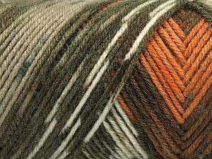 Fiber Content 50% Wool, 50% Acrylic, Turquoise, Orange, Khaki Shades, Brand Ice Yarns, Brown, Yarn Thickness 3 Light  DK, Light, Worsted, fnt2-56447