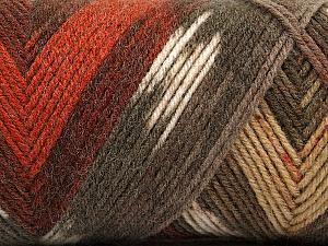 Fiber Content 50% Wool, 50% Acrylic, Brand Ice Yarns, Cream, Copper, Brown Shades, Yarn Thickness 3 Light  DK, Light, Worsted, fnt2-56449