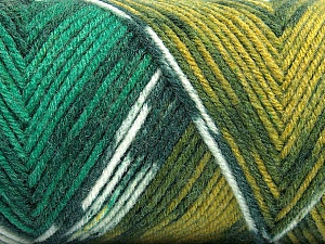 Fiber Content 50% Wool, 50% Acrylic, Yellow, White, Brand Ice Yarns, Green Shades, Yarn Thickness 3 Light  DK, Light, Worsted, fnt2-56451