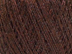 Fiber Content 85% Viscose, 15% Metallic Lurex, Brand Ice Yarns, Dark Brown, Yarn Thickness 3 Light  DK, Light, Worsted, fnt2-57034