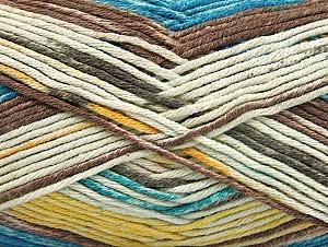 Fiber Content 50% Premium Acrylic, 50% Cotton, Yellow, Turquoise, Brand Ice Yarns, Cream, Brown, Yarn Thickness 2 Fine  Sport, Baby, fnt2-58415