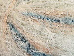 Fiber Content 40% Viscose, 30% Wool, 30% Polyamide, White, Light Salmon, Brand Ice Yarns, Blue, Yarn Thickness 5 Bulky  Chunky, Craft, Rug, fnt2-59581