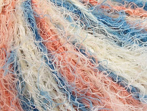Fiber Content 40% Viscose, 30% Wool, 30% Polyamide, White, Salmon, Brand Ice Yarns, Blue, Yarn Thickness 5 Bulky  Chunky, Craft, Rug, fnt2-59588