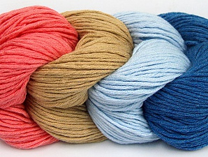You will love the cotton & acrylic blend of Iceyarns Art color cotton. Art color cotton is a DK weight yarn in delightful 4 color combinations.<br>Each 100 gram hank is made up of 4 individual small hanks .Each small hank is 25 gr / 57 yds. You can simply separate small hanks.<br>Each color is separate. In this way,  you can start from the color you want and create your color combinations. Fiber Content 50% Cotton, 50% Acrylic, Salmon, Light Blue, Brand Ice Yarns, Camel, Blue, Yarn Thickness 3 Light  DK, Light, Worsted, fnt2-60456