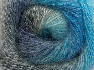 Fiber Content 75% Premium Acrylic, 15% Wool, 10% Mohair, Turquoise, Brand Ice Yarns, Grey Shades, Blue, Yarn Thickness 2 Fine  Sport, Baby, fnt2-61004