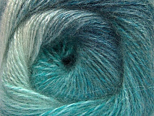 Fiber Content 75% Premium Acrylic, 15% Wool, 10% Mohair, Turquoise Shades, Brand ICE, Yarn Thickness 2 Fine  Sport, Baby, fnt2-61006
