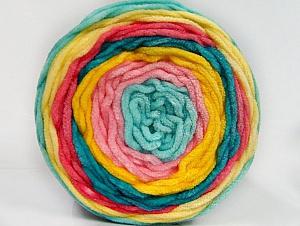 Fiber Content 100% Acrylic, Yellow, Turquoise, Salmon, Pink, Mint Green, Brand Ice Yarns, Yarn Thickness 4 Medium  Worsted, Afghan, Aran, fnt2-61172