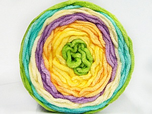 Fiber Content 100% Acrylic, Yellow Shades, Turquoise, Lilac, Brand Ice Yarns, Green, Yarn Thickness 4 Medium  Worsted, Afghan, Aran, fnt2-61173