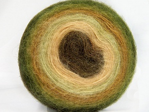 Fiber Content 60% Acrylic, 20% Angora, 20% Wool, Brand Ice Yarns, Green Shades, Cream, Brown, Yarn Thickness 2 Fine  Sport, Baby, fnt2-61239