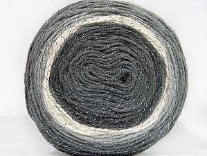 Fiber Content 95% Acrylic, 5% Metallic Lurex, White, Brand Ice Yarns, Grey Shades, Yarn Thickness 3 Light  DK, Light, Worsted, fnt2-61251