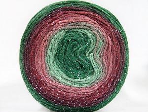 Fiber Content 95% Acrylic, 5% Metallic Lurex, Rose Pink, Maroon, Brand Ice Yarns, Green Shades, Yarn Thickness 3 Light  DK, Light, Worsted, fnt2-61262