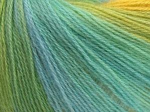 Fiber Content 60% Acrylic, 20% Wool, 20% Angora, Yellow, White, Turquoise, Brand Ice Yarns, Green, Yarn Thickness 2 Fine  Sport, Baby, fnt2-62539