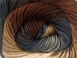 This is a self-striping yarn. Please see package photo for the color combination. Fiber Content 100% Premium Acrylic, Brand Ice Yarns, Grey Shades, Brown Shades, Yarn Thickness 3 Light  DK, Light, Worsted, fnt2-62897
