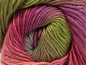 This is a self-striping yarn. Please see package photo for the color combination. Fiber Content 100% Premium Acrylic, Pink Shades, Lilac, Brand Ice Yarns, Grey, Green, Yarn Thickness 3 Light  DK, Light, Worsted, fnt2-62906
