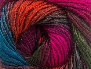This is a self-striping yarn. Please see package photo for the color combination. Fiber Content 100% Premium Acrylic, Turquoise, Brand Ice Yarns, Fuchsia, Dark Green, Copper, Burgundy, Yarn Thickness 3 Light  DK, Light, Worsted, fnt2-62908