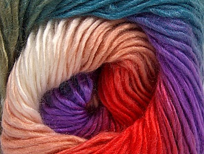 This is a self-striping yarn. Please see package photo for the color combination. Fiber Content 100% Premium Acrylic, White, Turquoise, Salmon, Lilac, Khaki, Brand Ice Yarns, Yarn Thickness 3 Light  DK, Light, Worsted, fnt2-62910