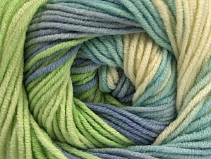Fiber Content 55% Cotton, 45% Acrylic, Brand Ice Yarns, Green, Cream, Blue Shades, Yarn Thickness 3 Light  DK, Light, Worsted, fnt2-63089