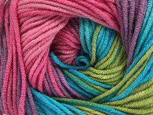 Fiber Content 55% Cotton, 45% Acrylic, Turquoise, Pink, Lilac, Brand Ice Yarns, Green Shades, Yarn Thickness 3 Light  DK, Light, Worsted, fnt2-63090