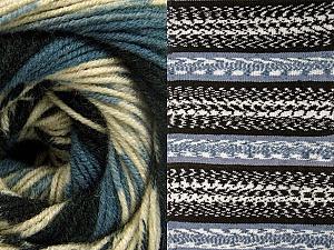 Fiber Content 70% Acrylic, 30% Wool, Smoke Blue, Brand Ice Yarns, Cream, Black, Yarn Thickness 3 Light  DK, Light, Worsted, fnt2-63203