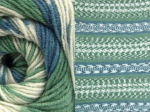 Fiber Content 70% Acrylic, 30% Wool, Brand Ice Yarns, Green, Cream, Blue, Yarn Thickness 3 Light  DK, Light, Worsted, fnt2-63207