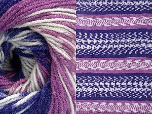 Fiber Content 70% Acrylic, 30% Wool, White, Purple, Lilac, Brand Ice Yarns, Yarn Thickness 3 Light  DK, Light, Worsted, fnt2-63211