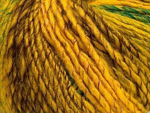 Fiber Content 70% Acrylic, 30% Wool, Yellow, Brand Ice Yarns, Green, Gold, Brown, Yarn Thickness 4 Medium  Worsted, Afghan, Aran, fnt2-63451