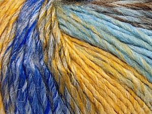 Fiber Content 70% Acrylic, 30% Wool, Yellow, Brand Ice Yarns, Grey, Brown, Blue Shades, Yarn Thickness 4 Medium  Worsted, Afghan, Aran, fnt2-63452