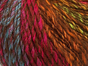 Fiber Content 70% Acrylic, 30% Wool, Turquoise, Brand Ice Yarns, Green, Gold, Fuchsia, Brown, Yarn Thickness 4 Medium  Worsted, Afghan, Aran, fnt2-63457