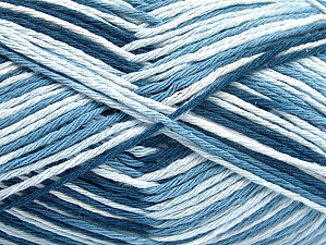 Fiber Content 100% Cotton, White, Brand Ice Yarns, Blue Shades, Yarn Thickness 3 Light  DK, Light, Worsted, fnt2-64031